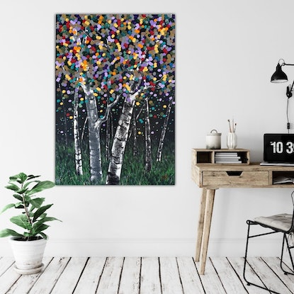 (CreativeWork) Aspen Night by Tom Roso. Acrylic Paint. Shop online at Bluethumb.