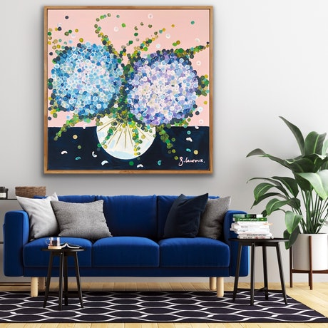 (CreativeWork) On sale 2 blue hydrangeas 102x102 framed large abstract textured flowers  by Sophie Lawrence. Acrylic Paint. Shop online at Bluethumb.