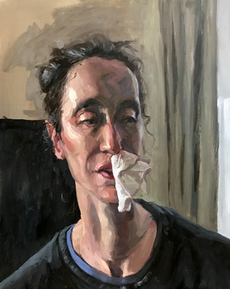 (CreativeWork) Nosebleed  by James Needham. Oil Paint. Shop online at Bluethumb.