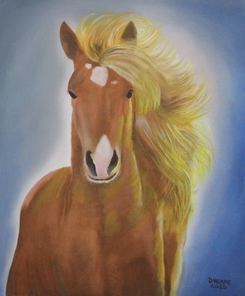 """(CreativeWork) """"Running Free"""" by Dennis Heape. Oil Paint. Shop online at Bluethumb."""