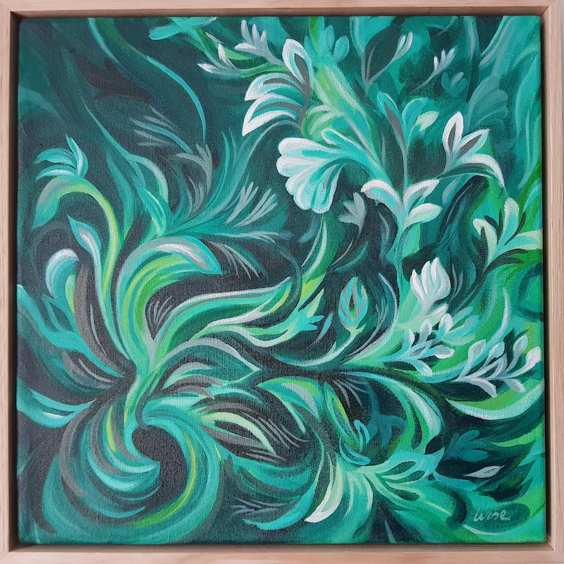 (CreativeWork) Green and serene by Kate Wise. Acrylic Paint. Shop online at Bluethumb.