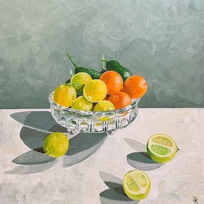 (CreativeWork) An August Harvest In Janina's Bowl by Dominika Keller. Acrylic Paint. Shop online at Bluethumb.