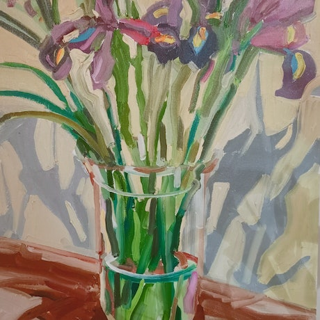 (CreativeWork) Irises by Ella Holme. Oil Paint. Shop online at Bluethumb.