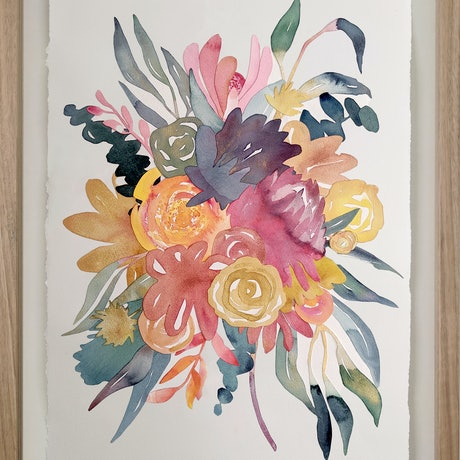 (CreativeWork) Native Bouquet with Gum Leaves — watercolour collage by Lyndsey Knight. Mixed Media. Shop online at Bluethumb.
