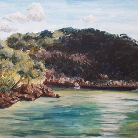 (CreativeWork) Winter Sun in Hawkesbury  by Hide Kobayashi. Acrylic Paint. Shop online at Bluethumb.