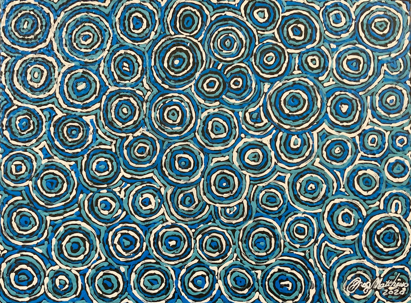 (CreativeWork) Rings of Time by Greg Matthews. Acrylic Paint. Shop online at Bluethumb.