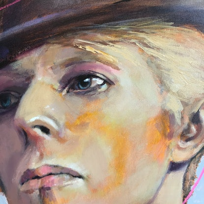(CreativeWork) Bowie; the Uncommon Man by Jennifer Croom. Acrylic Paint. Shop online at Bluethumb.