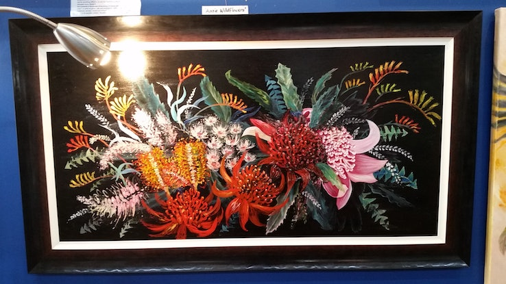 (CreativeWork) WARATAH & GUM FLOWERS - framed by Susan Capan. Oil Paint. Shop online at Bluethumb.