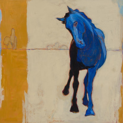 Blue horse galloping