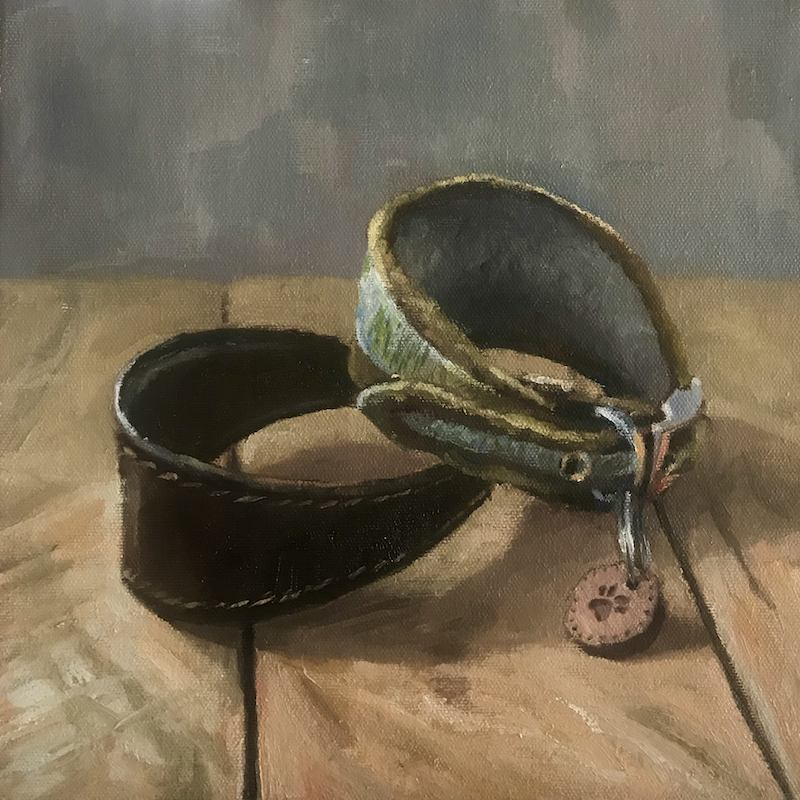 (CreativeWork) Dog collars on the coffee table by James Needham. Oil Paint. Shop online at Bluethumb.