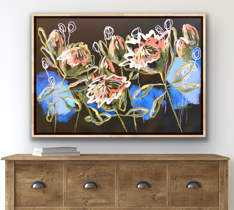 (CreativeWork) Sunset Protea - Abstract Flowers by Jen Shewring. Acrylic Paint. Shop online at Bluethumb.