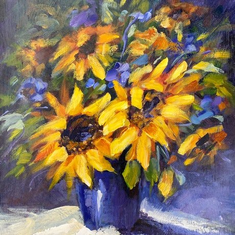 (CreativeWork) Glorious sunflowers by Ivana Pinaffo. Acrylic Paint. Shop online at Bluethumb.
