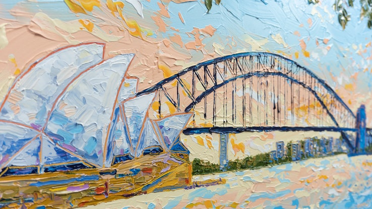 (CreativeWork) Sydney Harbour 3 by Joseph Villanueva. Acrylic Paint. Shop online at Bluethumb.