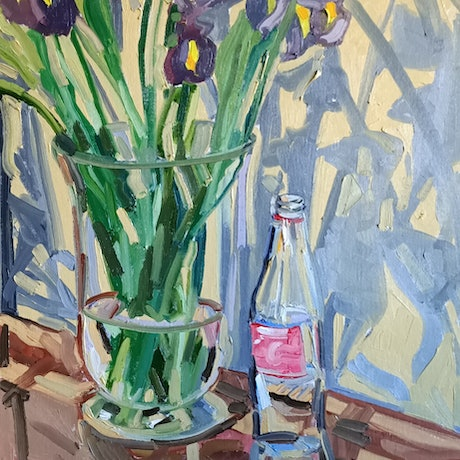 (CreativeWork) Irises 4 with Coke bottle by Ella Holme. Oil Paint. Shop online at Bluethumb.