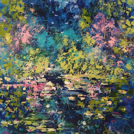 (CreativeWork)  Le Jardin de Monet (Monet's Garden) by Maria Cross. Acrylic Paint. Shop online at Bluethumb.