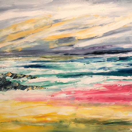 (CreativeWork) Byron Bay, Just Chillin by Lisa Ingerson. Oil Paint. Shop online at Bluethumb.