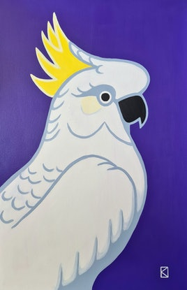 (CreativeWork)  White Cockatoo On Royal Purple - Pop - AUSTRALIANA - Animals by Olga Kolesnik. Acrylic Paint. Shop online at Bluethumb.