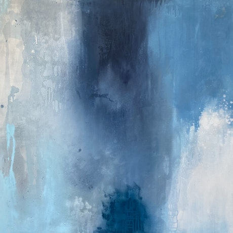 (CreativeWork) Raw Canvas Series Blue by Kathleen Rhee. Acrylic Paint. Shop online at Bluethumb.