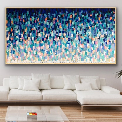 (CreativeWork) Broad beach 203x102 framed large abstract beach scape by Sophie Lawrence. Acrylic Paint. Shop online at Bluethumb.