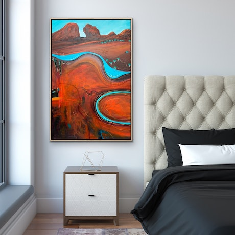 (CreativeWork) Meandering Billabong by Tania Chanter. Acrylic Paint. Shop online at Bluethumb.