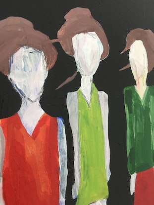 (CreativeWork) The Three Sisters (Id, Ego and Super-Ego) by Kate Rogers. Mixed Media. Shop online at Bluethumb.