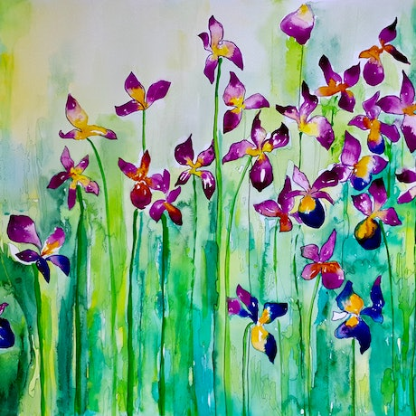 (CreativeWork) Iris Explosion by Lucinda Leveille. Watercolour Paint. Shop online at Bluethumb.
