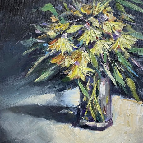 (CreativeWork) Yellow gumnut blossoms  by Ivana Pinaffo. Oil Paint. Shop online at Bluethumb.