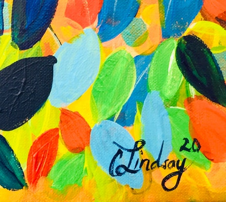 (CreativeWork) Sunset Leaves  by Carol Lindsay. Acrylic Paint. Shop online at Bluethumb.