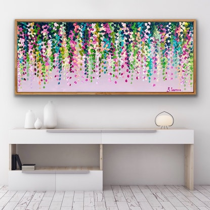 (CreativeWork) Pink on pink wisteria 153x62 framed large textured abstract by Sophie Lawrence. Acrylic Paint. Shop online at Bluethumb.