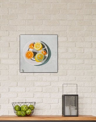(CreativeWork) A Lemon & An Orange  by Dominika Keller. Acrylic Paint. Shop online at Bluethumb.