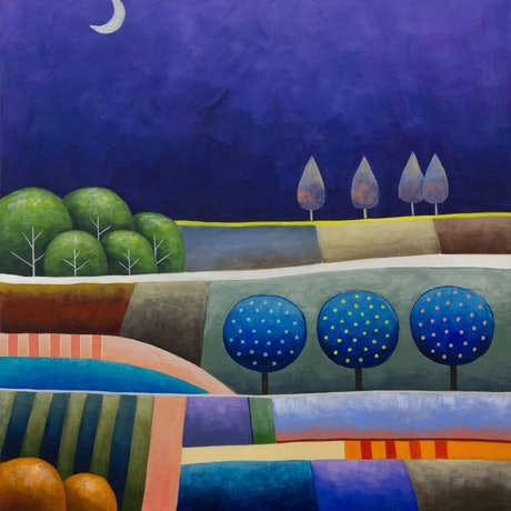 (CreativeWork) Purple Patchwork by Kate Graham. Acrylic Paint. Shop online at Bluethumb.
