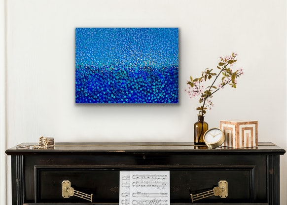 (CreativeWork) Blue Mirage  by Theo Papathomas. Acrylic Paint. Shop online at Bluethumb.