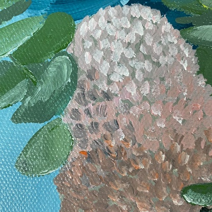 (CreativeWork) Banksia & Bluegum by Johanna Fry. Acrylic Paint. Shop online at Bluethumb.