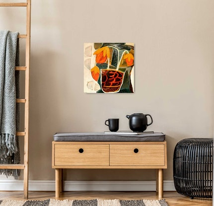 (CreativeWork)  Tulip Morning by Faye Leister. Acrylic Paint. Shop online at Bluethumb.