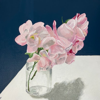 (CreativeWork) Last call for roses by Johanna Fry. Acrylic Paint. Shop online at Bluethumb.