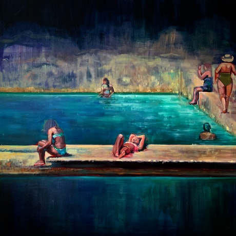 (CreativeWork) La Piscine by Sara Roberts. Oil Paint. Shop online at Bluethumb.