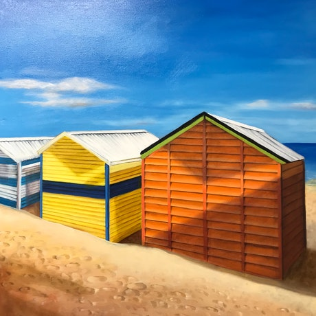 (CreativeWork) Beach Boxes by Dianne Fix. Oil Paint. Shop online at Bluethumb.