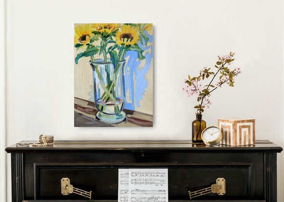 (CreativeWork) Opening sunflowers with tasman blue by Ella Holme. Oil Paint. Shop online at Bluethumb.