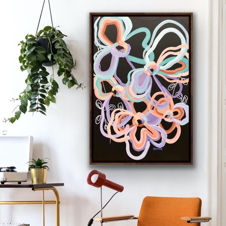 (CreativeWork) Retro Love - Abstract Flowers by Jen Shewring. Acrylic Paint. Shop online at Bluethumb.