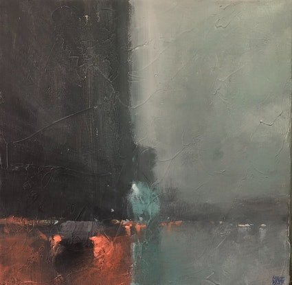 (CreativeWork) Rain Dance - rainy day cityscape by Mike Barr. Acrylic Paint. Shop online at Bluethumb.