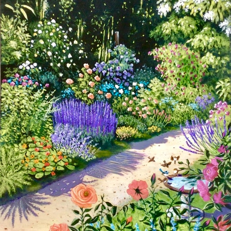 """(CreativeWork) """"THE ROSE GARDEN"""" - READY TO HANG by Toni Lucas. Acrylic Paint. Shop online at Bluethumb."""