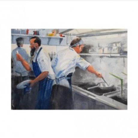 (CreativeWork) Bon Appetit Waterboy Cafe 2 by Jill Rogers. Watercolour Paint. Shop online at Bluethumb.