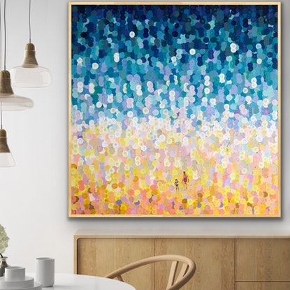 (CreativeWork) Mum and me by the sea 122x122 framed large textured abstract beachscape by Sophie Lawrence. Acrylic Paint. Shop online at Bluethumb.