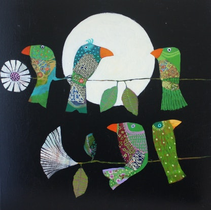 (CreativeWork) The Green Family by Christine Robinson. Mixed Media. Shop online at Bluethumb.
