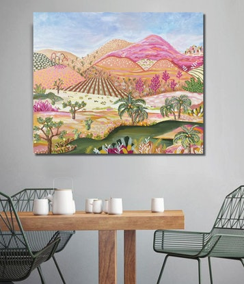 (CreativeWork) Desert Oasis - Abstract Contemporary Landscape by Daniela Fowler. Acrylic. Shop online at Bluethumb.