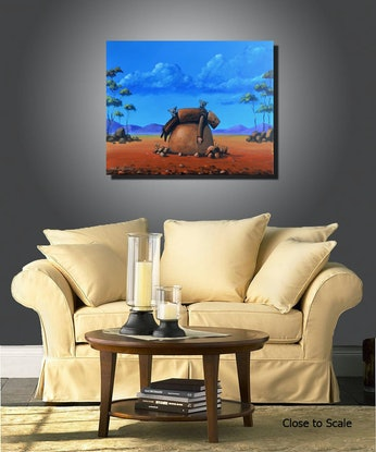 (CreativeWork) Resting Ned Kelly and angry koalas by Max Horst  Sokolowski. Acrylic Paint. Shop online at Bluethumb.