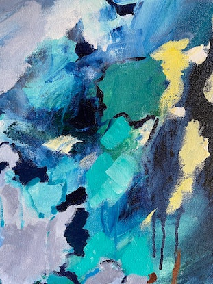 (CreativeWork) Steep Terrain by Sue Woolnough. Acrylic Paint. Shop online at Bluethumb.