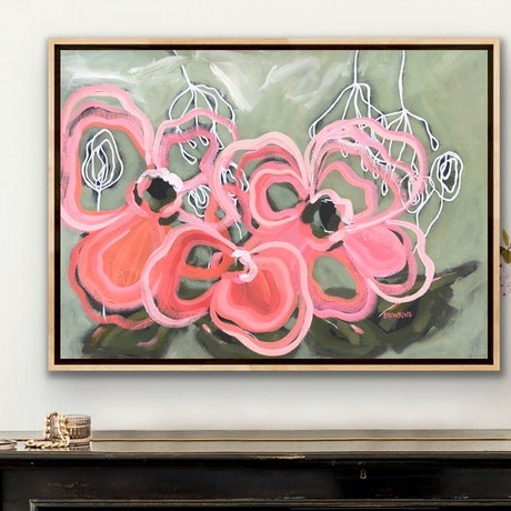 (CreativeWork) Champagne Blush - Abstract Flowers by Jen Shewring. Acrylic Paint. Shop online at Bluethumb.