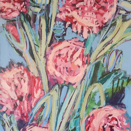 (CreativeWork) PEONY POPPIES by Karen McPhee. Acrylic Paint. Shop online at Bluethumb.