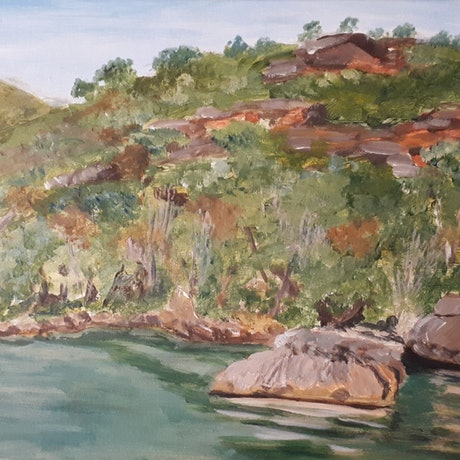 (CreativeWork) Start of spring in Hawkesbury  River  by Hide Kobayashi. Acrylic Paint. Shop online at Bluethumb.